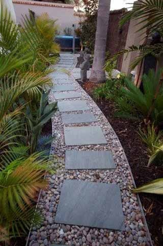 Curved Path with Pavers and Stones