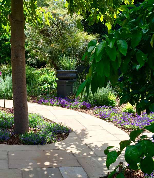 Landscaping with Winding Natural Stone Footpath