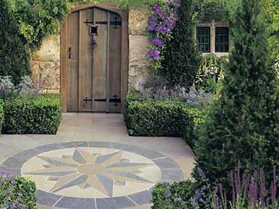 Vintage Stone Coloured Stone Floor Compass