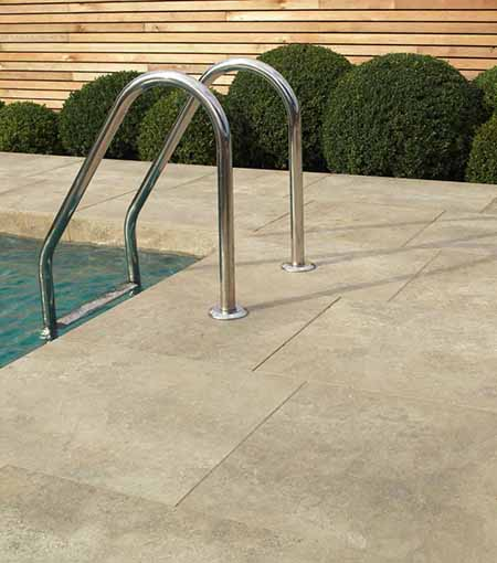 Vitrified paving for pool surrounds
